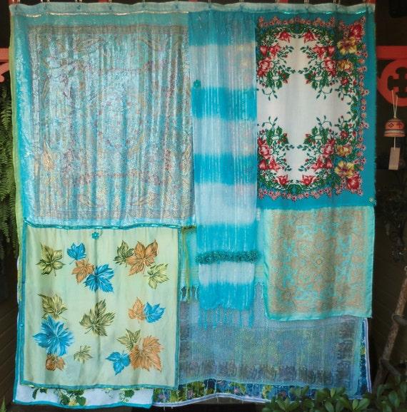 TURQUOISE SEA - Handmade Gypsy Shower Curtain Bohemian Global Hippie Style