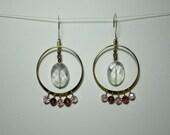 Faceted Crystal/Pink/Purple Hoop Drop Earrings