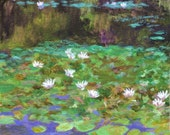 Monet's Waterlily Pond - Original painting on canvas water reflections Green Black Purple White