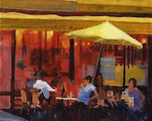 Cafe de Paris 4x4 Small Canvas Art Print of Original Painting Yellow Umbrella Bistro French Cafe Painting