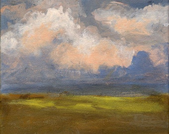 Landscape with Green Fields and Pink Clouds - Original Painting Blue Grey