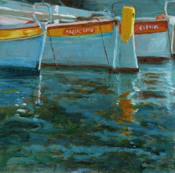 Boats in Provence - Original painting on canvas from France Blue Green
