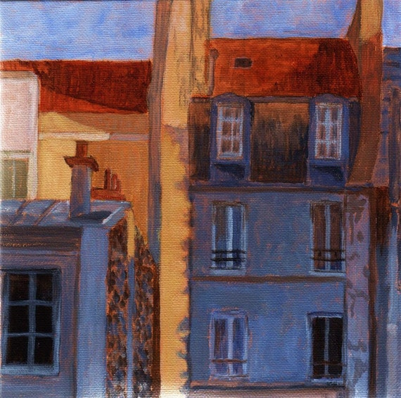 Morning Light 4x4 Mini ART Painting on canvas French buildings Architecture Blue Yellow Red