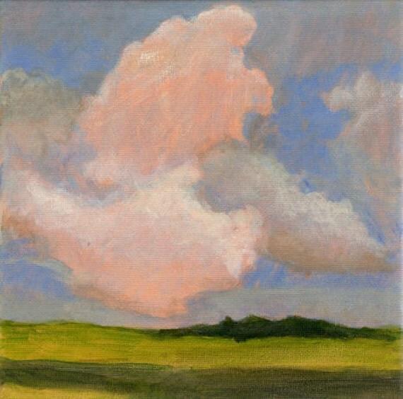 Sunlit Clouds - Original Landscape Painting Green Fields Blue Sky Calm Serene 8x8 Stretched Canvas