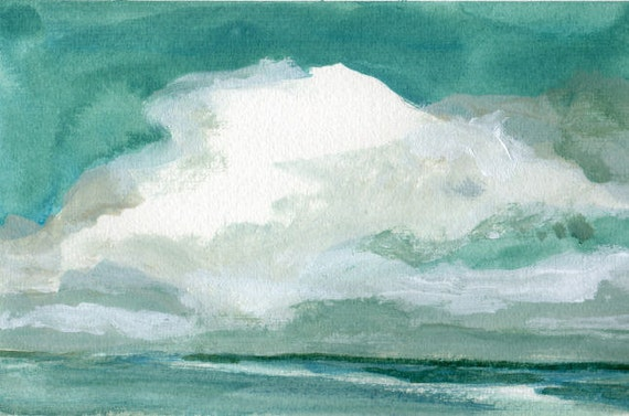 Smell the Sea Air - Original Landscape Painting Big Clouds and Ocean