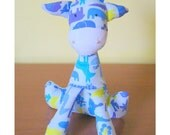 Zoo animals soft Giraffe - blue, lilac and lemon green