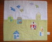 Village and Birds - Little art quilt