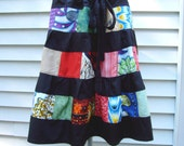 Patchwork and Black Tiered Shorter Skirt