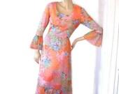 Vtg 70s Orange Creamsicle Dream Dress B38