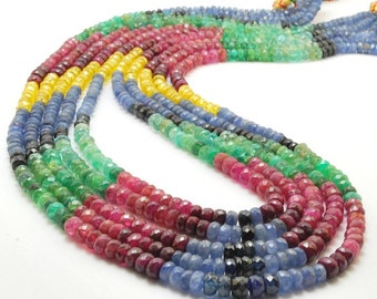 1/2 strand Amazing Mixed Precious Rondelles-Emerald,Ruby,Sapphires - 3,5 to 5mm
