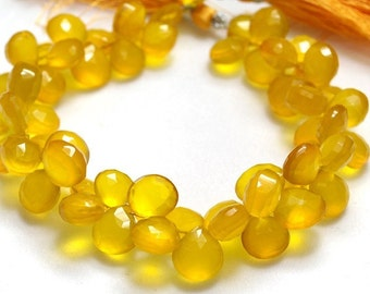 1/2 strand Very Finest Yellow Chalcedony Faceted Heart Briolettes