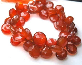 1/2 strand Very Finest Brown-Red-Orange Chalcedony Faceted Heart Briolettes