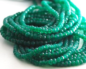 1/2 strand-Superb Green Onyx faceted rondelles