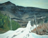 "Art Original Oil Painting Plein Air Winter Road Fournier Appalachian Quebec "" Marble Mountain Under Snow NDB "", 16"" x 20"""