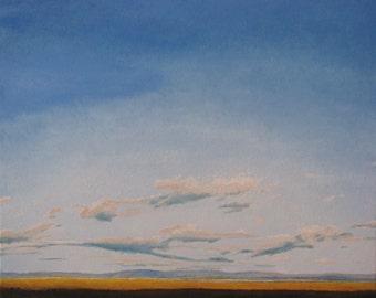 """Art Large Landscape Oil Painting Skyscape Cloud Minimalist Fournier """" Low Tide On The Saint-Lawrence River, Cap Tourmente, Quebec, Canada """""""