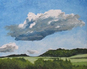 """Art Original Oil Painting Landscape Impressionist Cloud Sky Eastern Townships Appalachian Quebec Canada By Fournier """" The Cumulus """" 20""""x 16"""""""