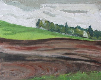 """Art Original Small Oil Painting Plein Air Landscape Impressionist Eastern Townships Quebec Canada Fournier """"The Green and Brown Hill 10 x 12"""
