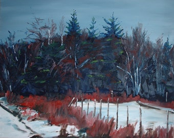 """Art Large Oil Painting Original Appalachian Winter Landscape Impressionist Winter Snow Forest Quebec Canada Fournier """"BY THE WOODS """" 24 x 30"""