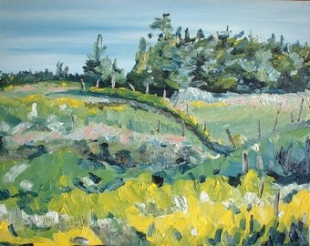 "Art Landscape Plein Air Oil Painting Original Impressionist Eastern Townships Appalachian Quebec Canada Fournier "" On A Field Of Golden Rods"
