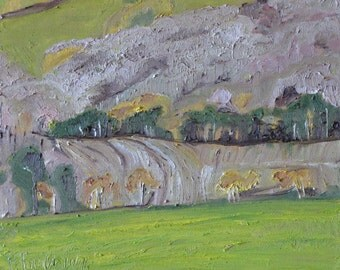 """Art Original Small Plein Air Landscape Oil Painting Impressionist Abstract Quebec Canada Fournier """" The End Of October In The Valley 10 x 12"""