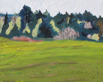 """Art Original Oil Painting Plein Air Impressionist Landscape Spring Blossom Eastern Townships Quebec Canada By Fournier """" Forest Blossoming"""""""