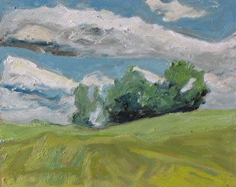 "Plein Air Landscape Oil Painting Original Appalachian  Impressionist Minimalist Sky Cloud Quebec Canada Fournier ""Going With The Wind 10x12"