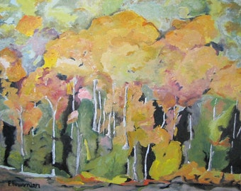 "Art Large Landscape Oil painting Impressionist Abstract Fall Tree Forest Orford National Park  Quebec Canada Fournier "" The Orange Trees """