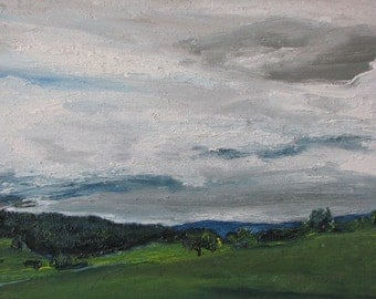 "Art Original Oil Painting Plein Air Landscape Impressionist Sky Eastern Townships  Canada Appalachian Quebec Fournier "" The Heavy Clouds """