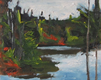"Art Original Oil Painting Plein Air Landscape Impressionist Forest Tree Fall Autumn Lake Appalachian Quebec Canada By Fournier ""The Pond """