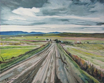 """Large Oil Painting Landscape Original Impressionist Country Road Eastern Townships Appalachian Quebec Canada Fournier """"The Gravel Road 24x30"""