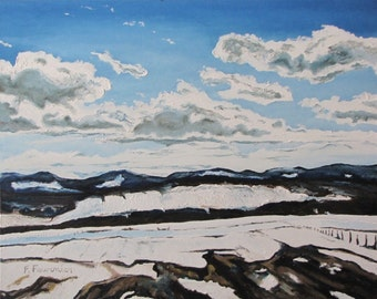 "Art Original Large Oil Painting Landscape Impressionist  Snow Sky Cloud Winter Quebec Canada Fournier "" The Melting Snow In The Appalachians"
