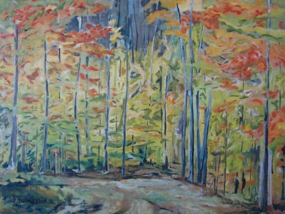 "Art Large Original Oil Painting Landscape Forest Fall Autumn Appalachian National Park Quebec Canada  Fournier "" The Orange Maple Trees """