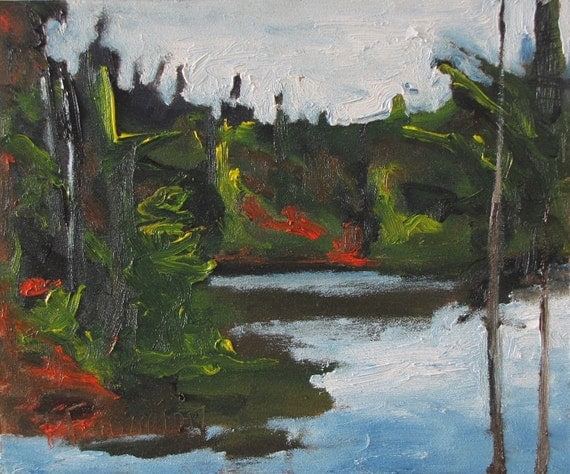 """Art Original Oil Painting Plein Air Landscape Impressionist Forest Tree Fall Autumn Lake Appalachian Quebec Canada By Fournier """"The Pond """""""