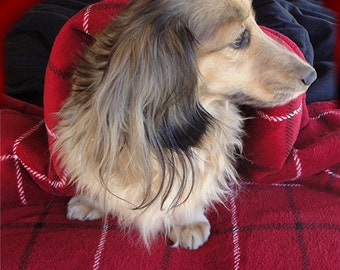 """Dog Bed - HIGHLAND MUSE -15"""" x 19"""" - Red and Black Plaid - Minky Cuddle Bed - Includes Embroidered Personalization"""