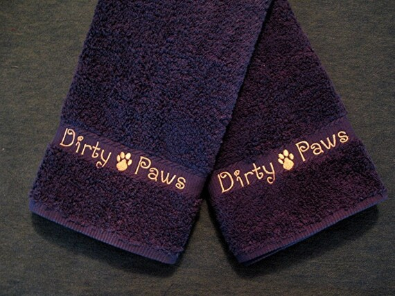 Dirty Paws -  2 Hand Towels - Embroidered and Personalized - Choose your Color