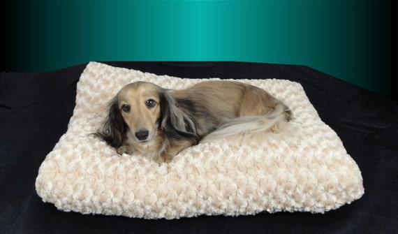 My Cloud or Yours - Rosettes Cuddle - All in One Bed -  Fur Bed for Dogs, Cats, Pets - Includes Embroidered Personalization- SMALL 17 x 20