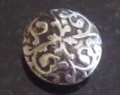 Scrolls Fine Silver Lentil Bead
