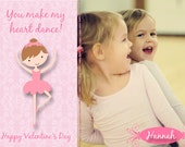 Personalized Ballet Valentine's Day Photo Card or PSD Template - Ballerina Dance Cutie