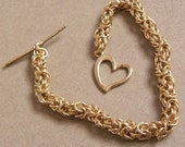 Brass Chainmaille Bracelet with Heart Toggle Clasp