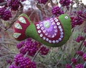 Sequined Bird Christmas ornament green and purples