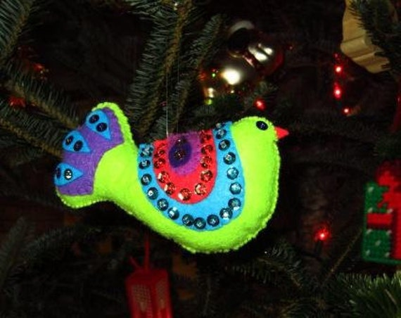 Sequined Bird Christmas ornament shades of  green, turquoise,purple,rose and blue