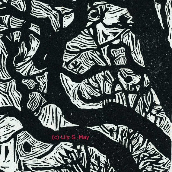 Catalpa Tree  Limited Edition Linocut