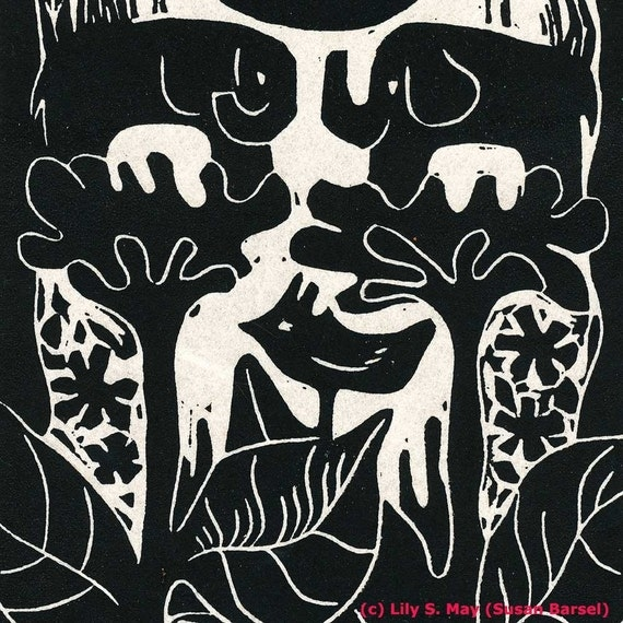 Floral Elephants Limited Edition Linocut