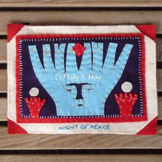 Wall Hanging--Small Felt Hand Appliqued, Purple, Red, Blue, White--Night of Peace