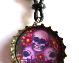 SALE Bottle Cap Necklace Tres Calaveras