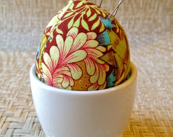 Egg Pincushion in a Duck Footed Pot - Kaffe Fassett fabric