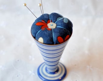 Pincushion - Red Blossoms in a Blue Striped Egg Cup
