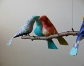 Bird Mobile Custom  7 colorful Birds on natural tree branches personalized just for you