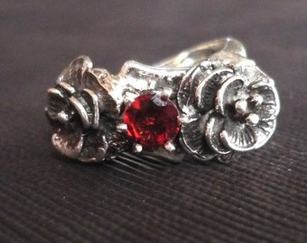 Garnet and Sterling Silver Rose Ring
