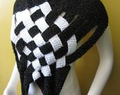 Black White Weave Shawl Cowl